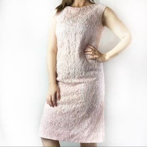 Vintage Lord & Taylor pink beaded  shift dress